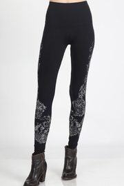 M. Rena Dark Navy Scroll Printed Leggings - Product Mini Image