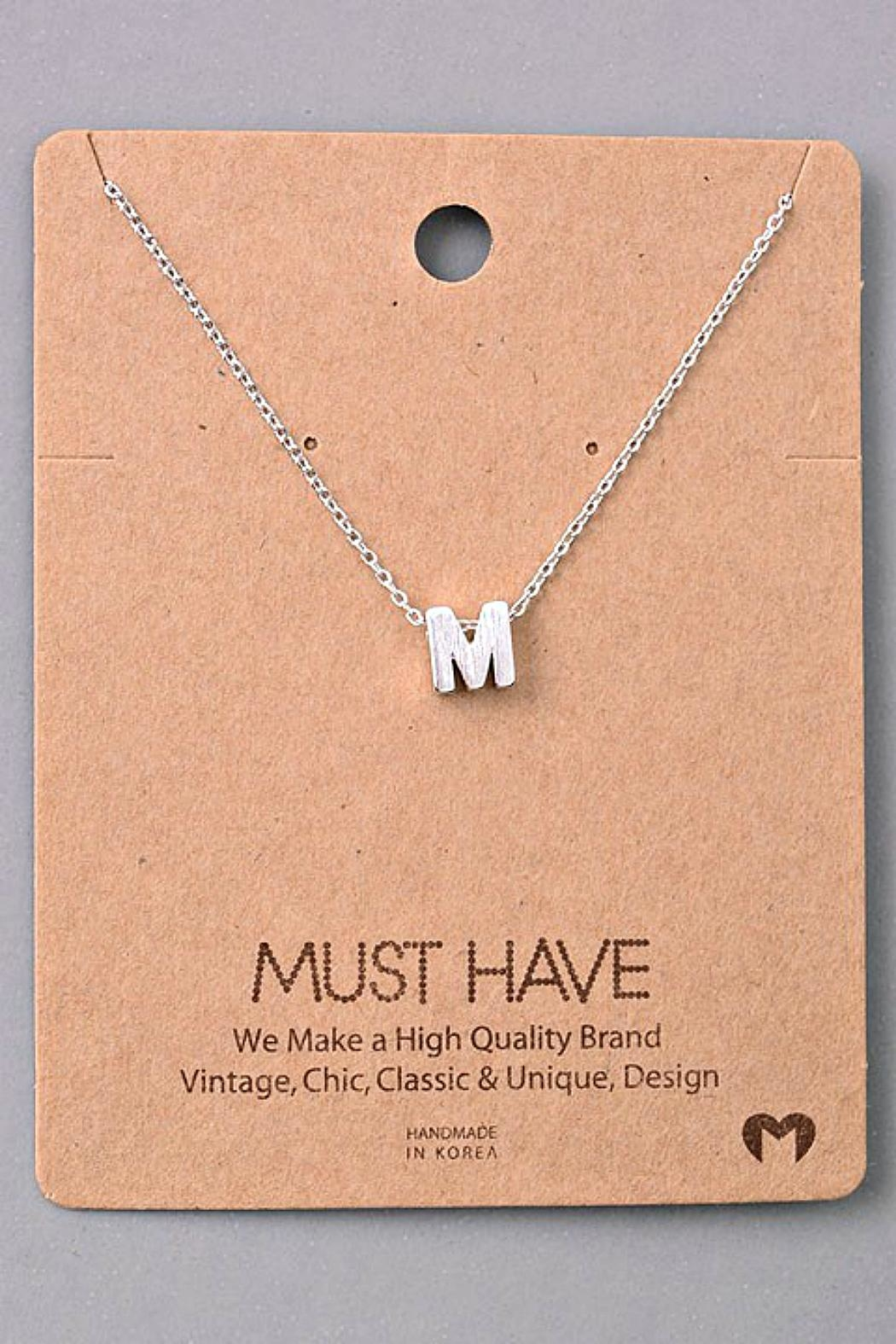 Fame Accessories M-Initial Pendant Necklace - Front Cropped Image
