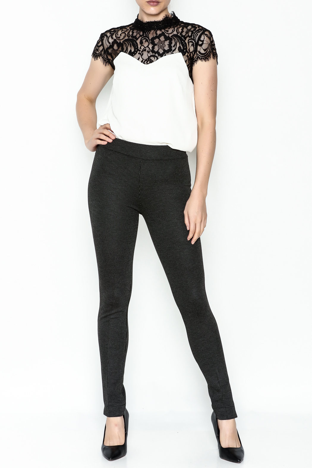 M made in Italy Stripped Legging Pant - Side Cropped Image
