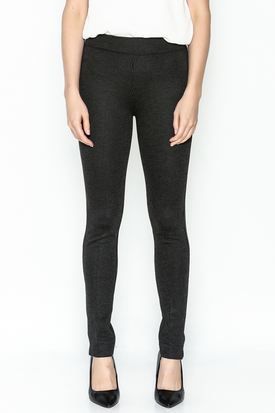 M made in Italy Stripped Legging Pant - Front Full Image