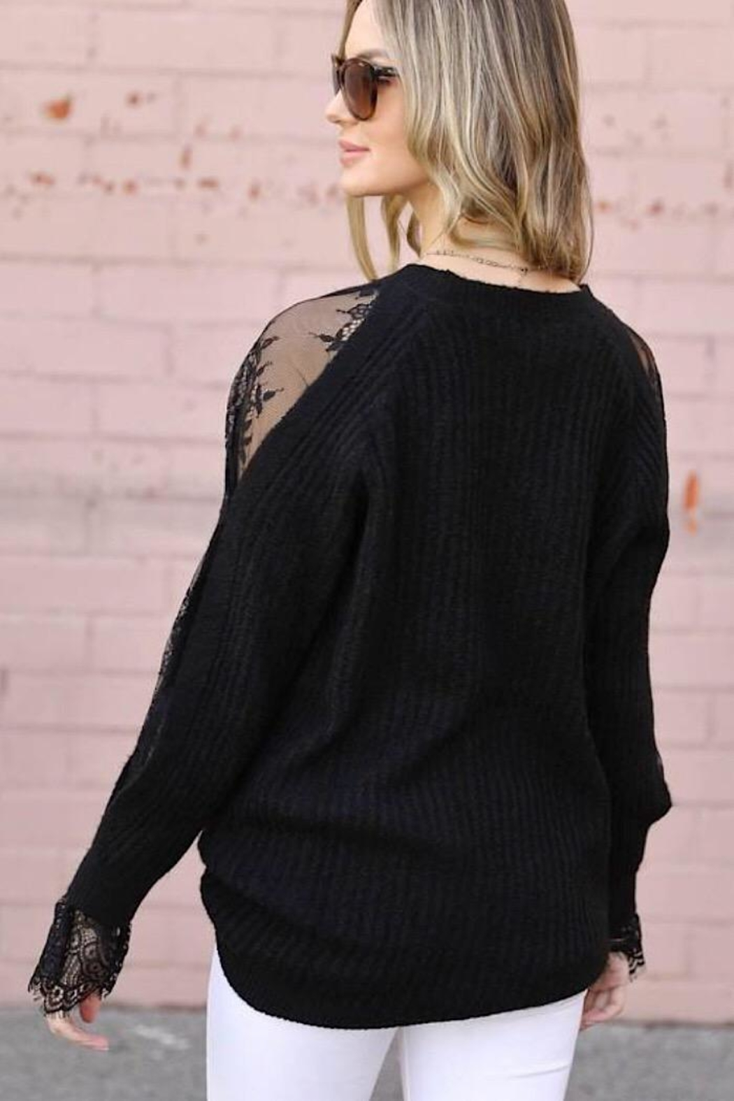 m2 Lace Sleeve Sweater - Side Cropped Image