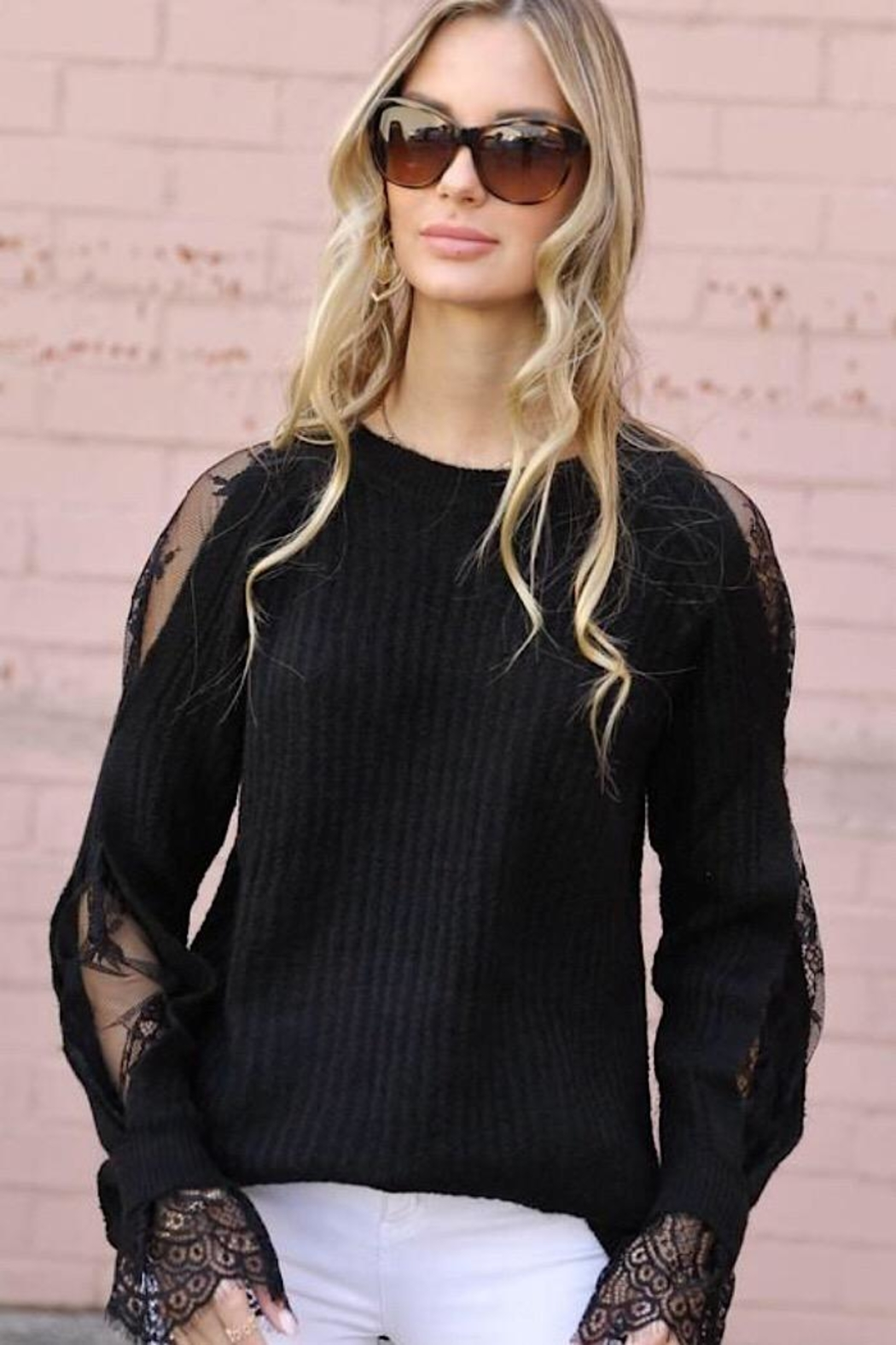 m2 Lace Sleeve Sweater - Main Image