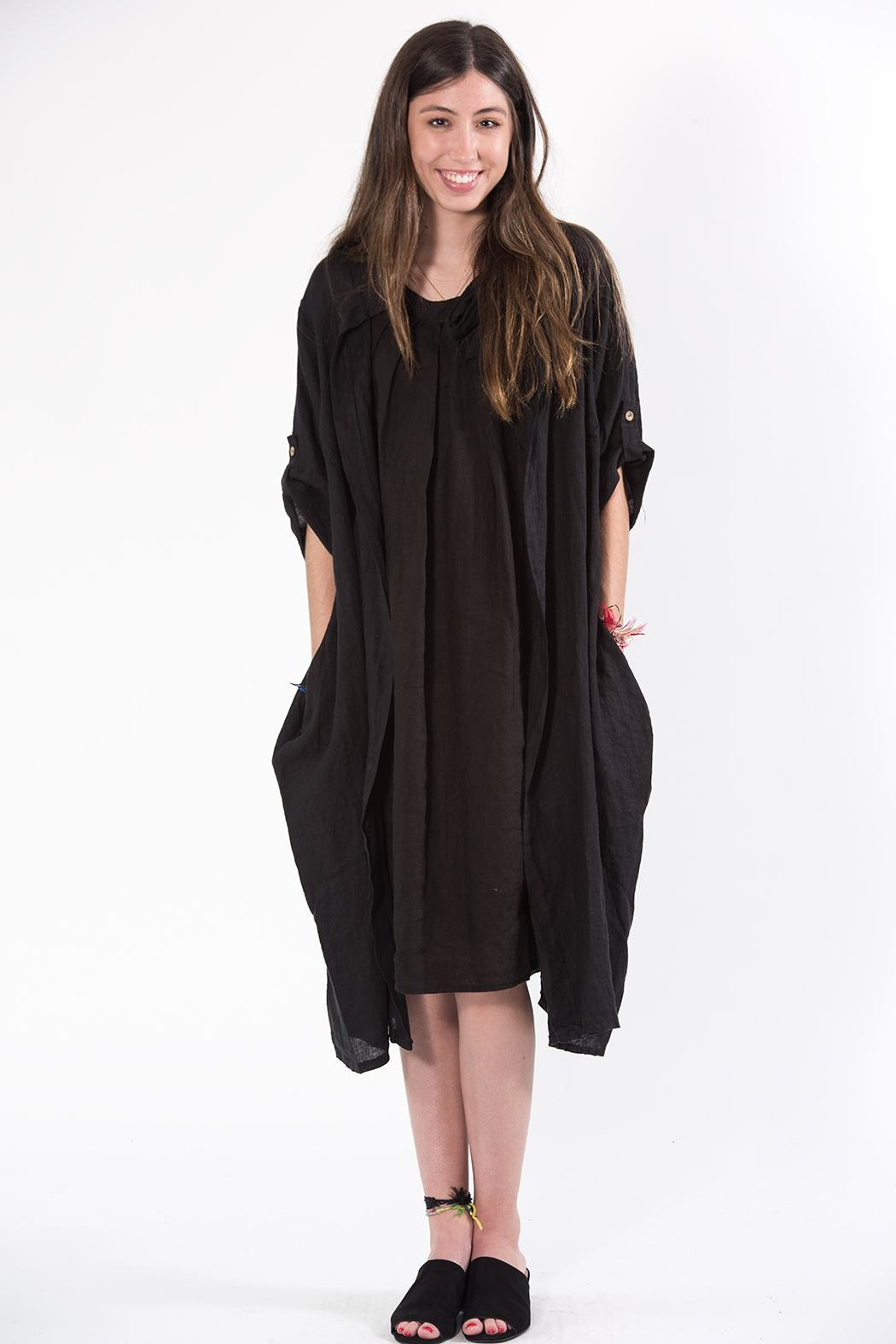 M made in Italy Black Duster - Front Full Image