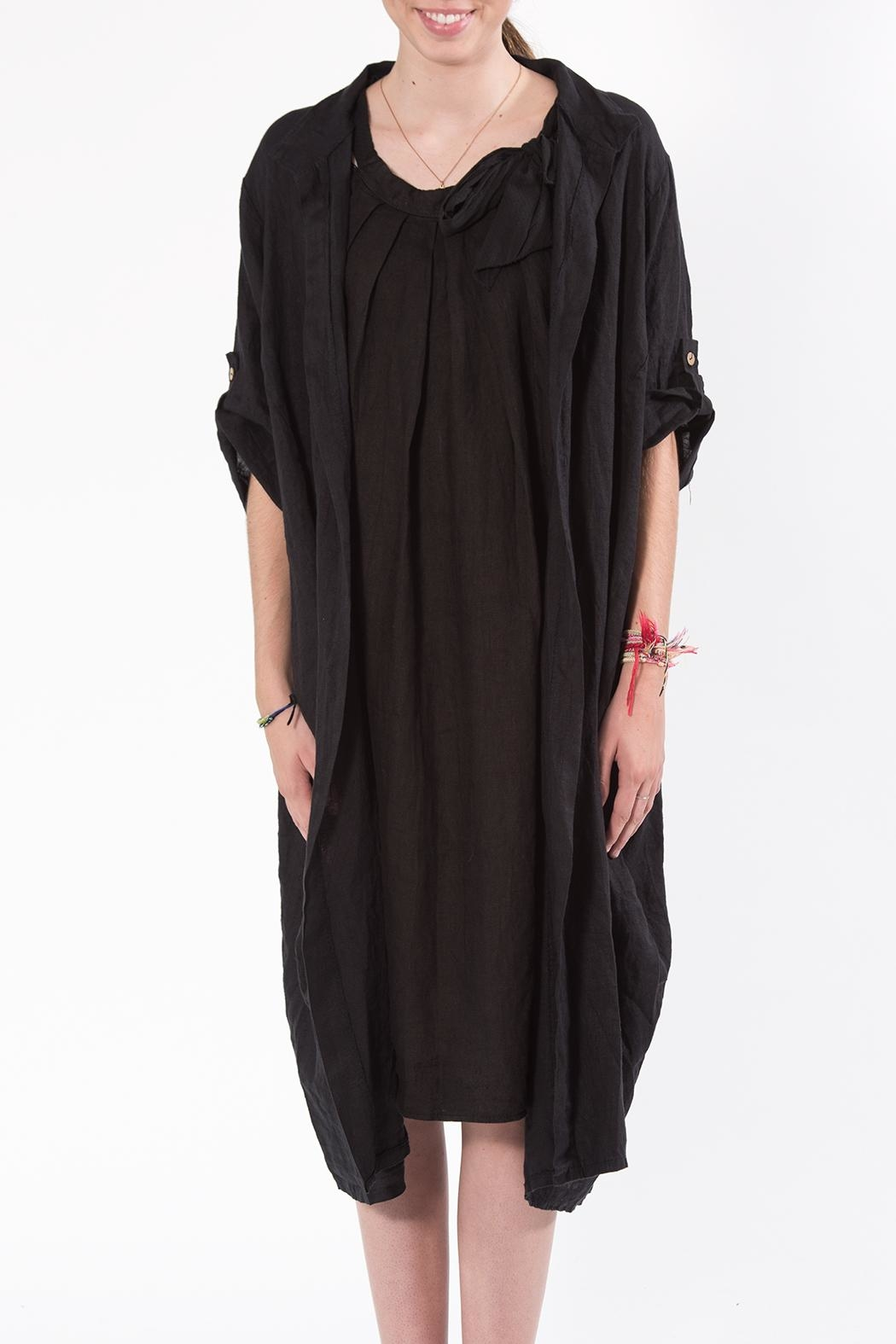 M made in Italy Black Duster - Side Cropped Image