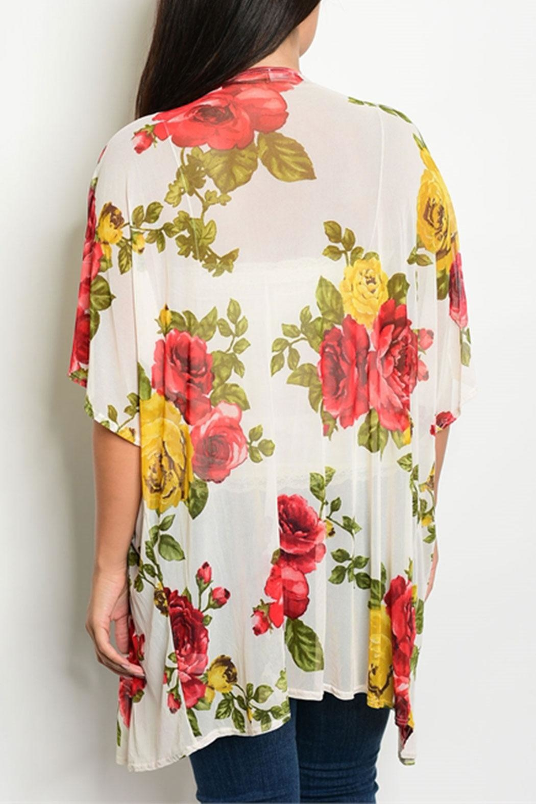 M USA Ivory/red/mustard Floral Cardigan - Front Full Image