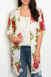 M USA Ivory/red/mustard Floral Cardigan - Front cropped