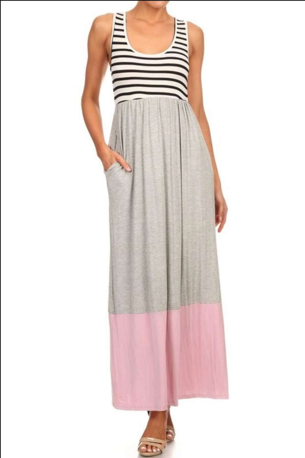 M USA Stripe/colorblock Jersey-Knit Maxidress - Main Image