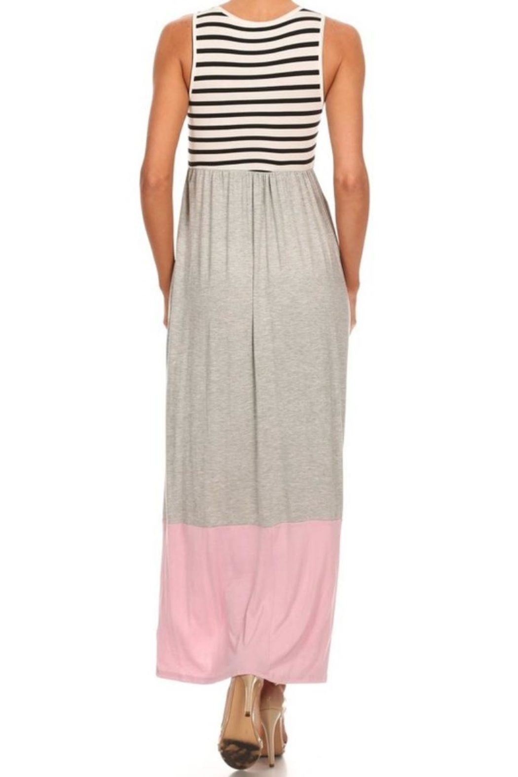 M USA Stripe/colorblock Jersey-Knit Maxidress - Front Full Image