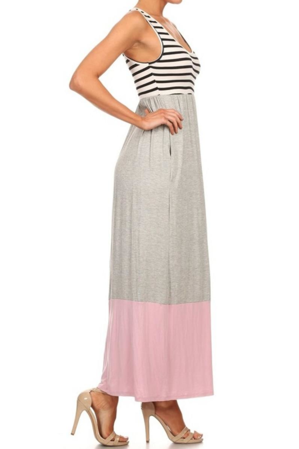M USA Stripe/colorblock Jersey-Knit Maxidress - Side Cropped Image