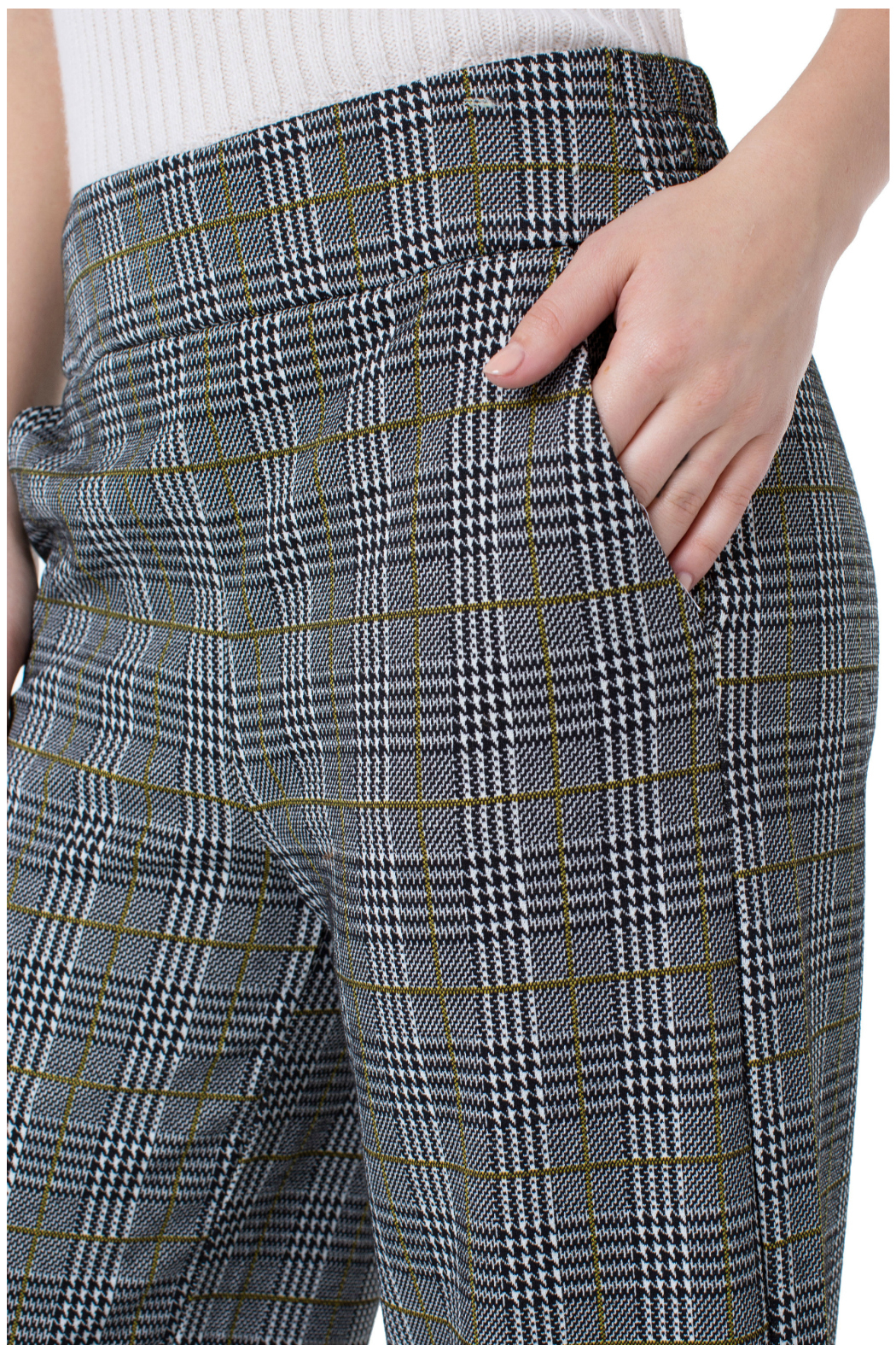 Liverpool Plaid Cropped Pants - Side Cropped Image