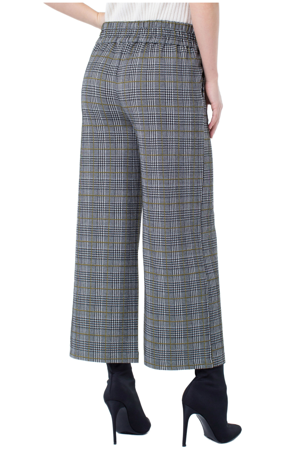 Liverpool Plaid Cropped Pants - Front Full Image