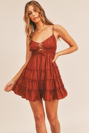 Mable Babydoll Ruffle Teir Laceup Dress - Side cropped