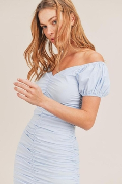 Mable Blue Shirred Dress - Alternate List Image
