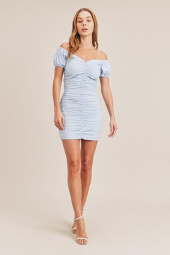 Mable Blue Shirred Dress - Product List Image