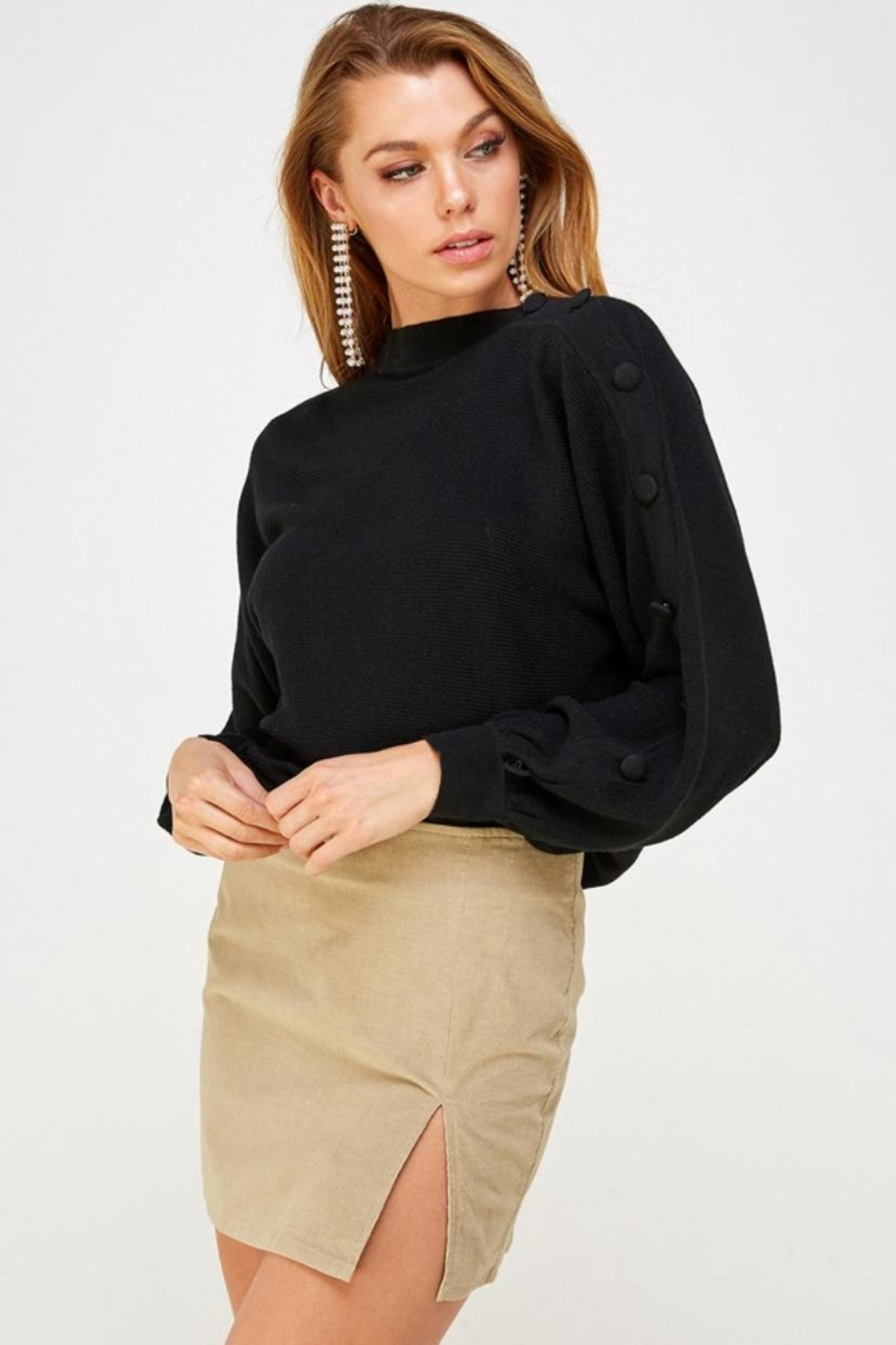 Mable Button Shoulder Sweater - Main Image