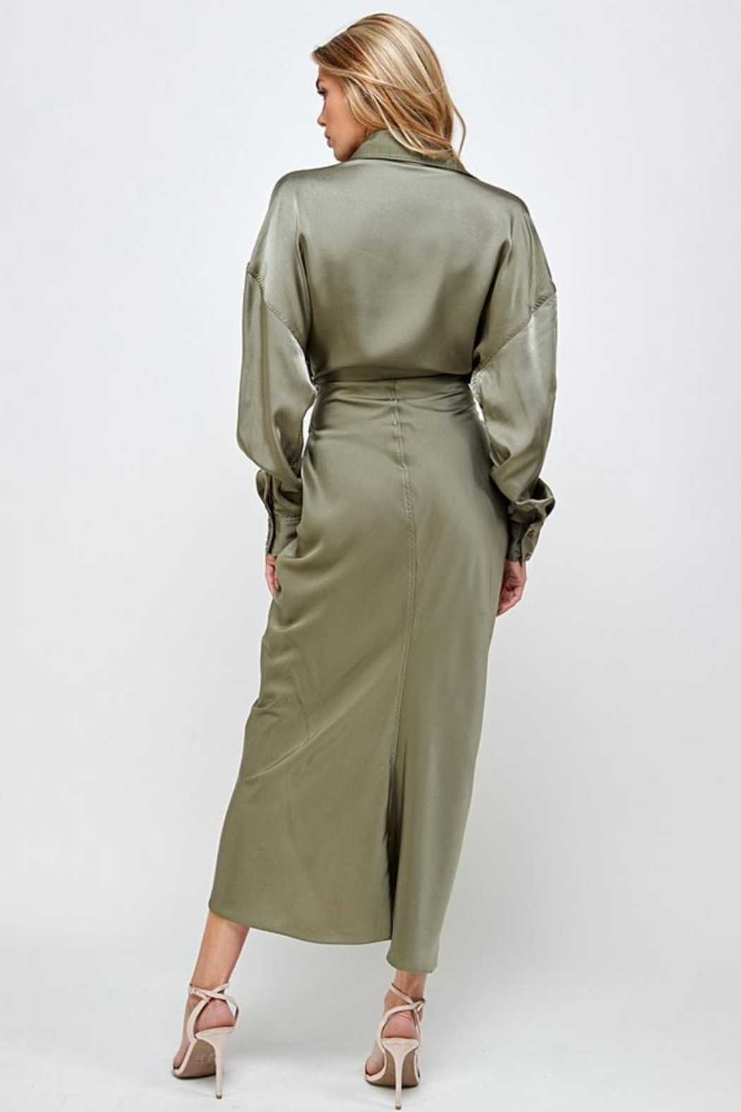Mable Draped Olive Dress - Front Full Image
