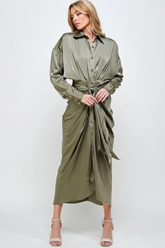 Mable Draped Olive Dress - Product List Image