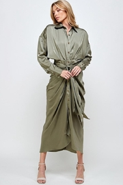 Mable Draped Olive Dress - Front cropped
