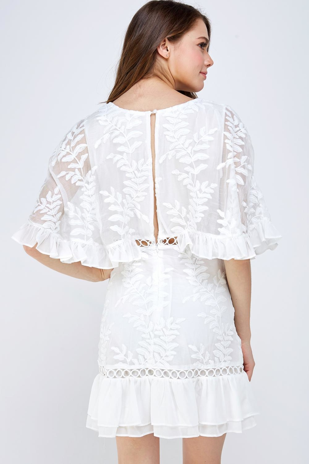 Mable Embroidered Floral Dress - Back Cropped Image