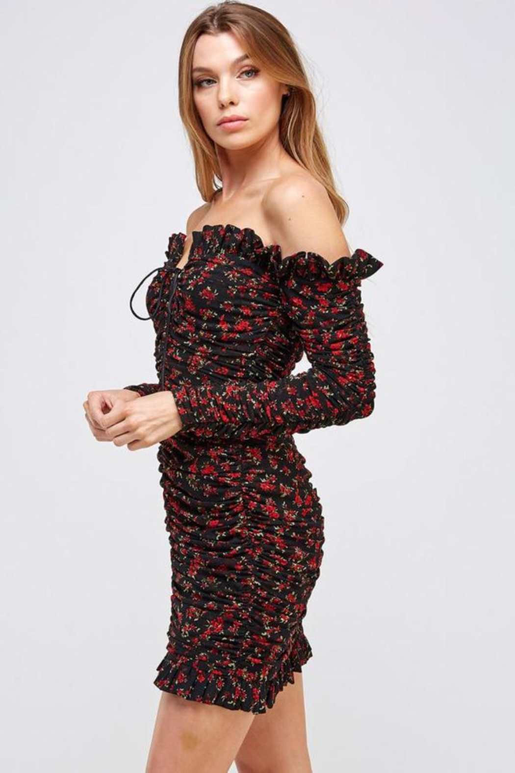 Mable Floral Shirring Dress - Side Cropped Image