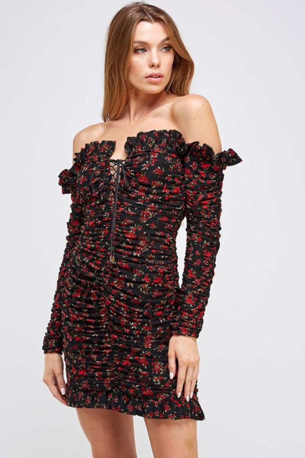 Mable Floral Shirring Dress - Main Image