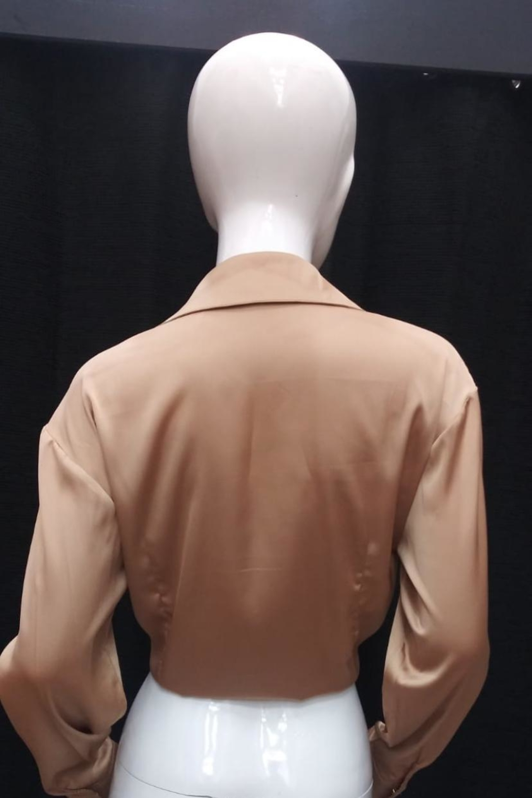 Mable Front-Tie Satin Top - Front Full Image