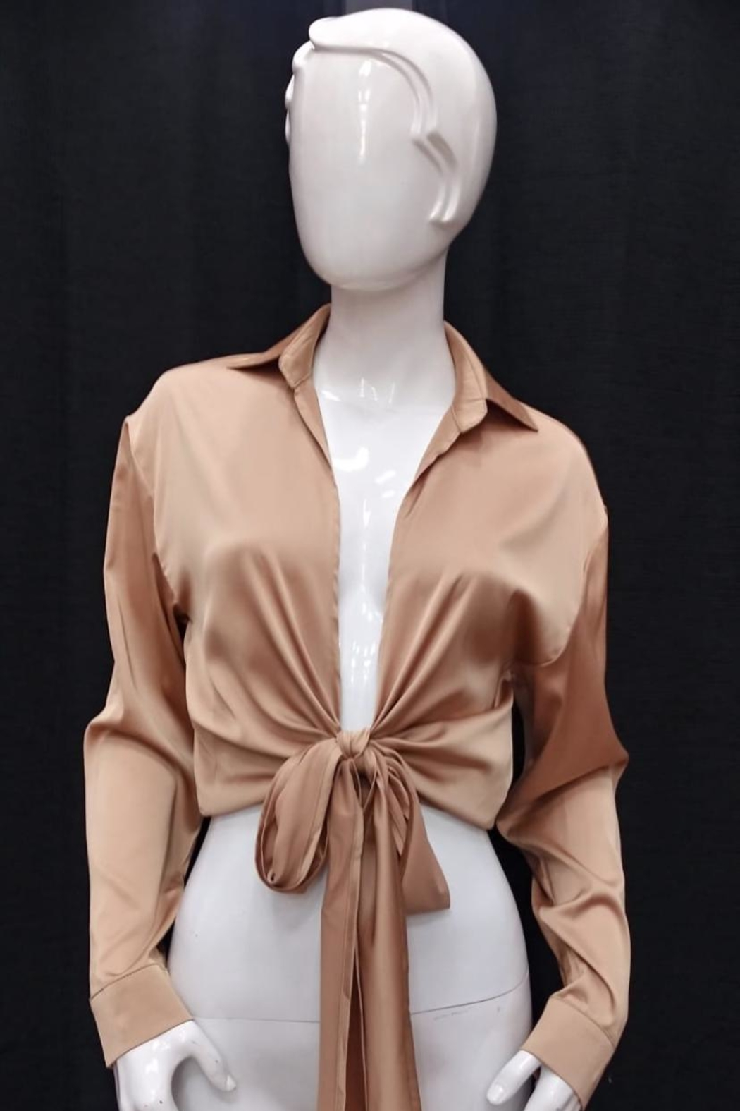 Mable Front-Tie Satin Top - Front Cropped Image