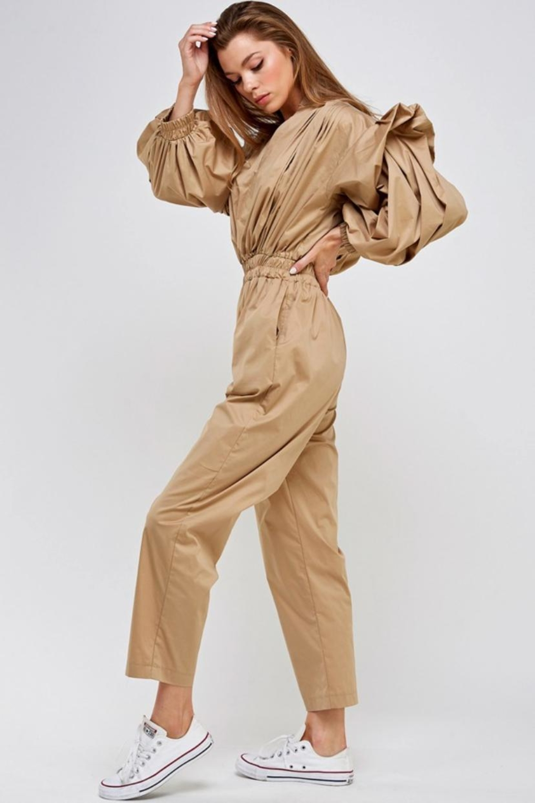 Mable Khaki Jumpsuit - Side Cropped Image