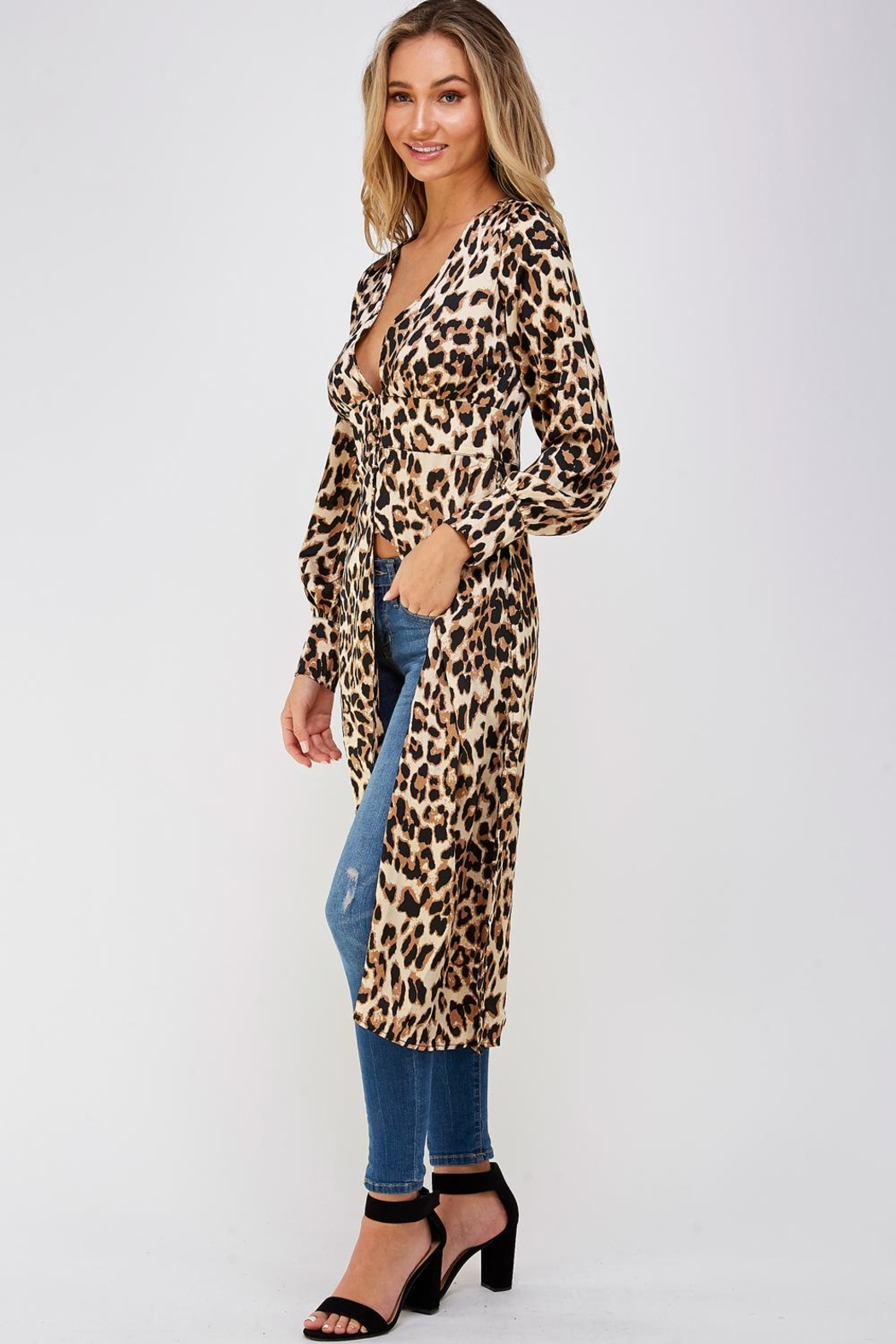 Mable Long Leopard Blouse - Front Full Image
