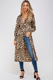 Mable Long Leopard Blouse - Front cropped