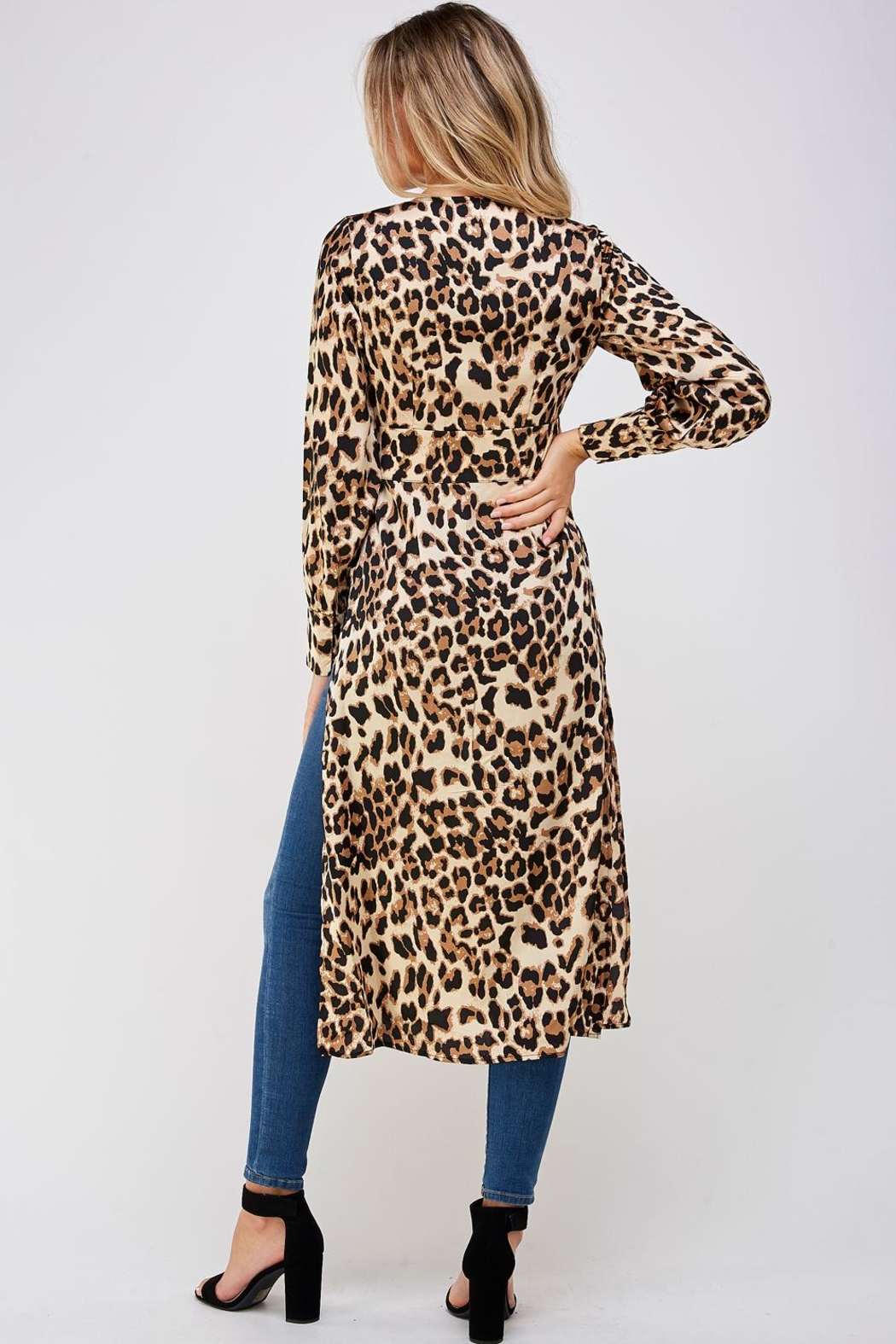 Mable Long Leopard Blouse - Back Cropped Image