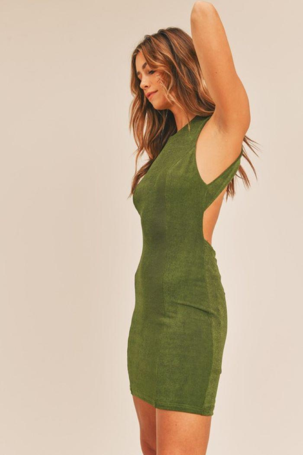 Mable Open Back Bodycon Dress - Front Full Image
