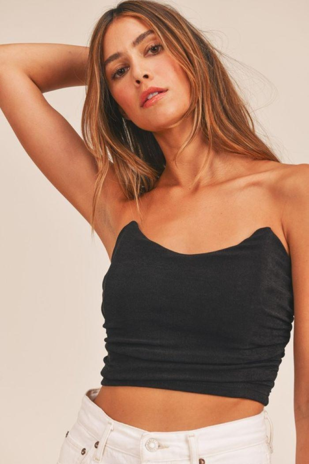 Mable Ruched Fitted Crop Top - Front Cropped Image