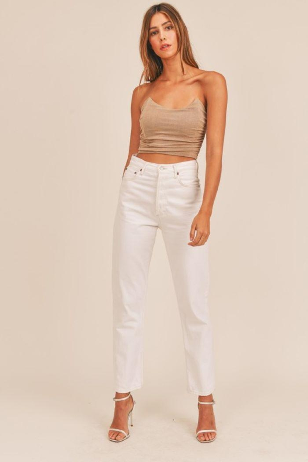 Mable Ruched Fitted Crop Top - Side Cropped Image
