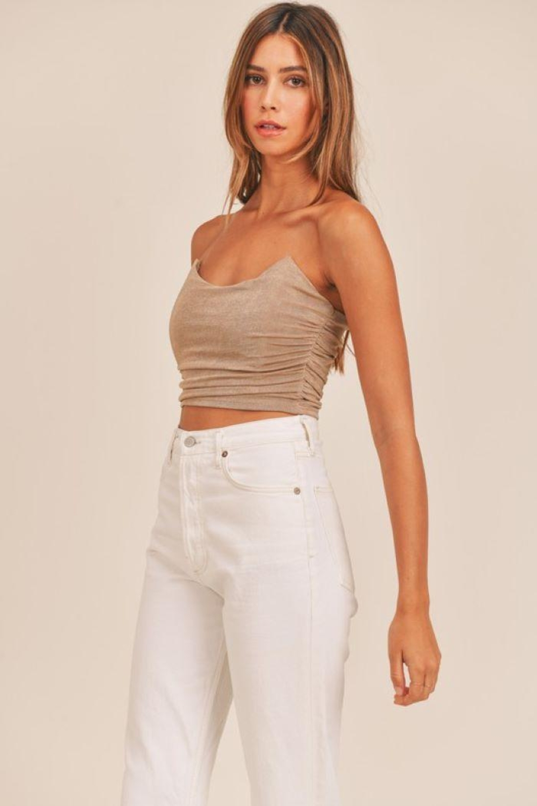 Mable Ruched Fitted Crop Top - Main Image