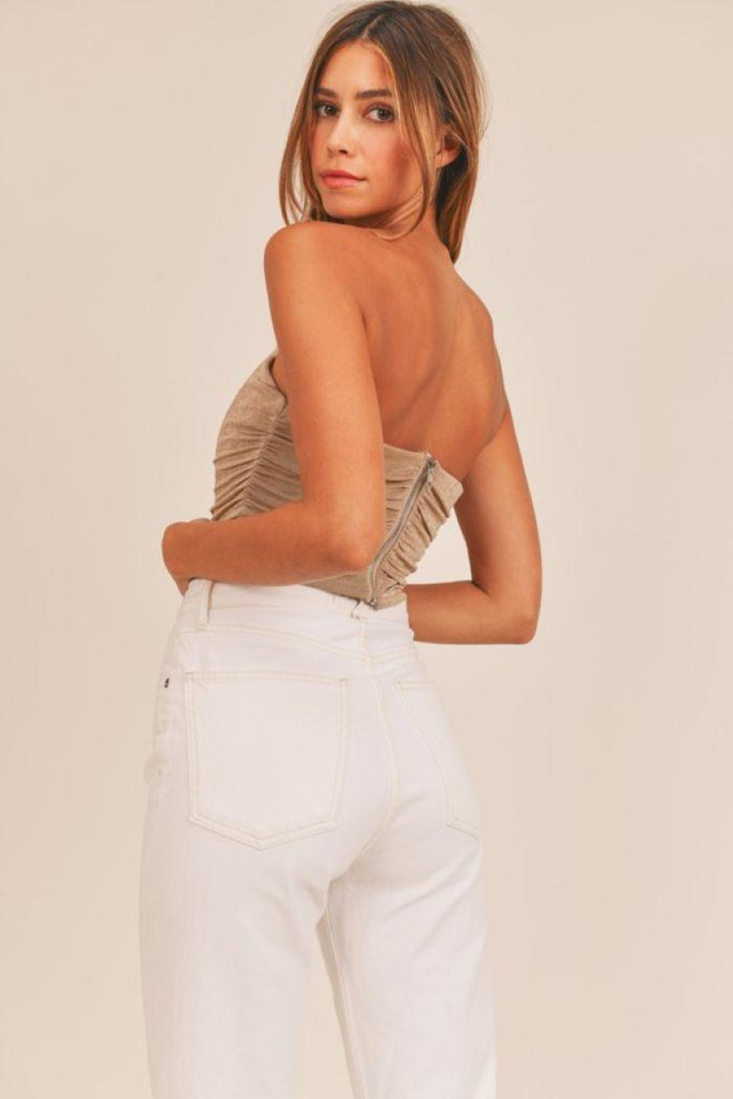 Mable Ruched Fitted Crop Top - Back Cropped Image