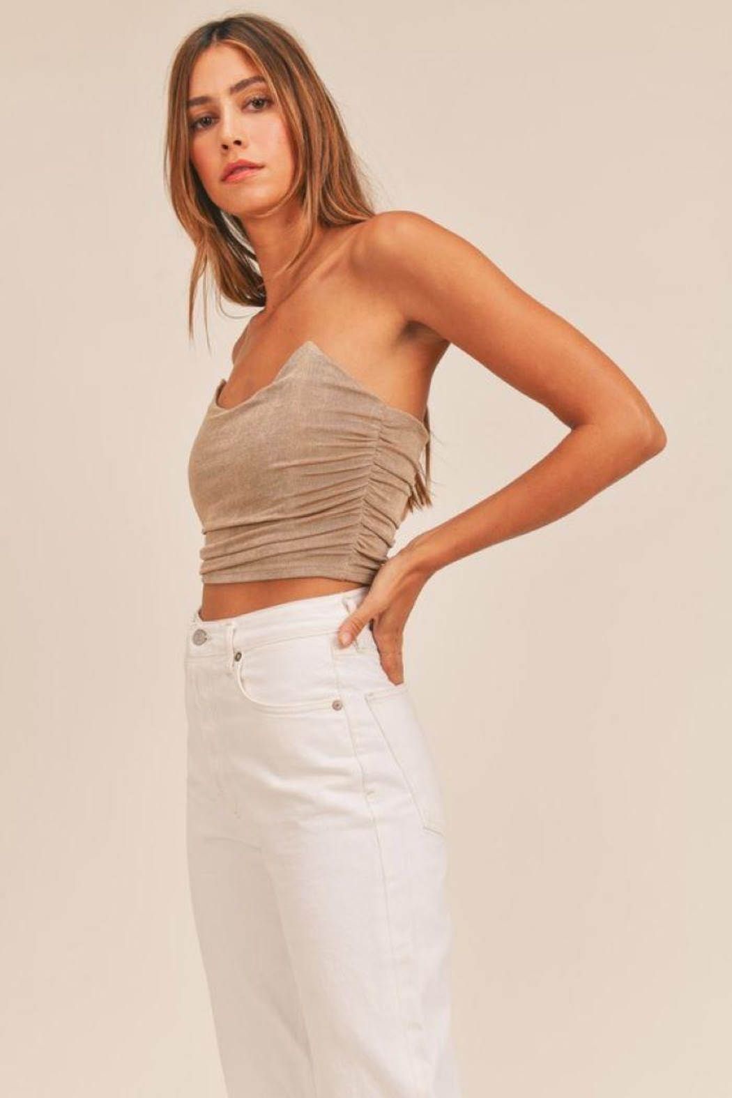 Mable Ruched Fitted Crop Top - Front Full Image