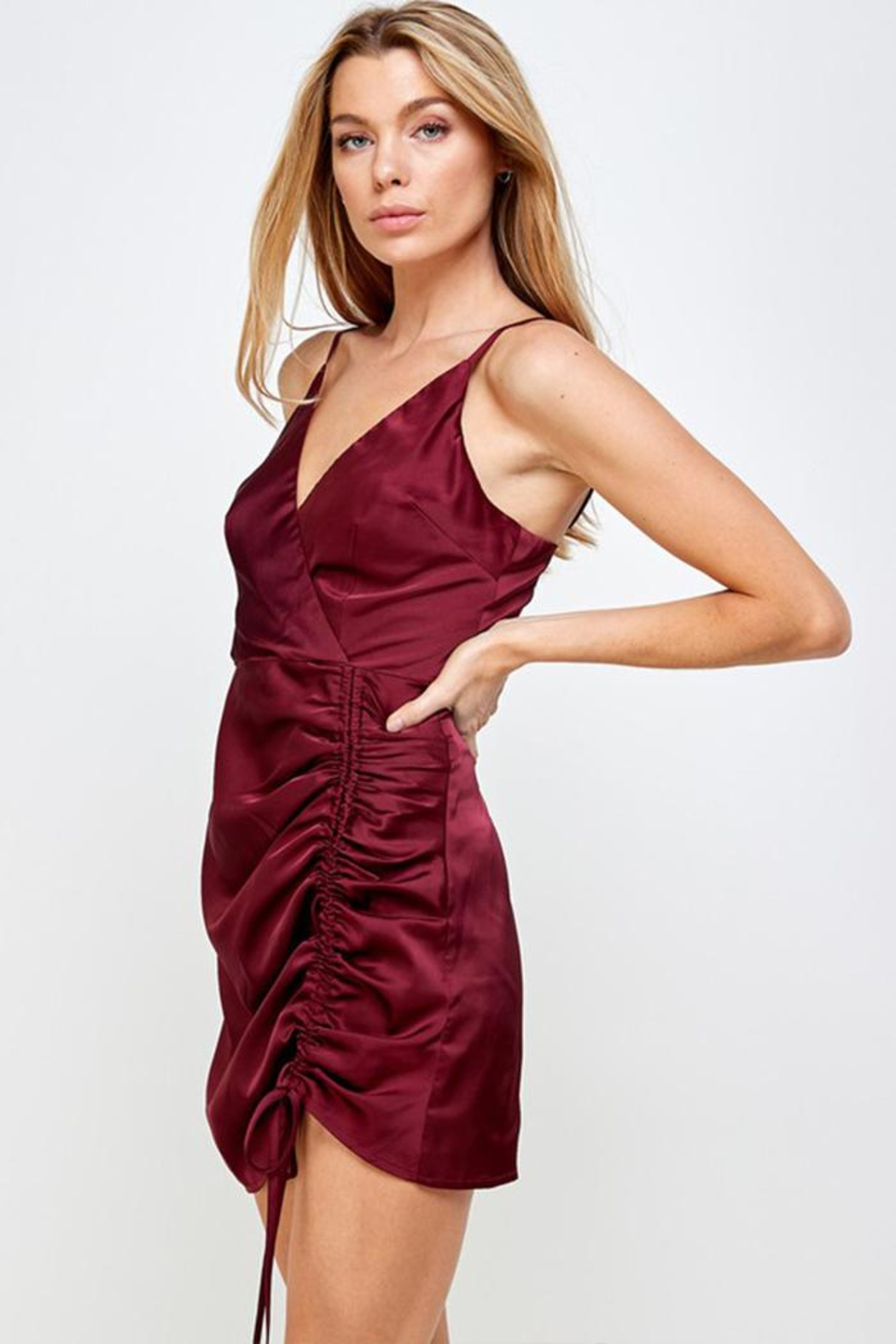 Mable Satin Drawstring Dress - Front Full Image