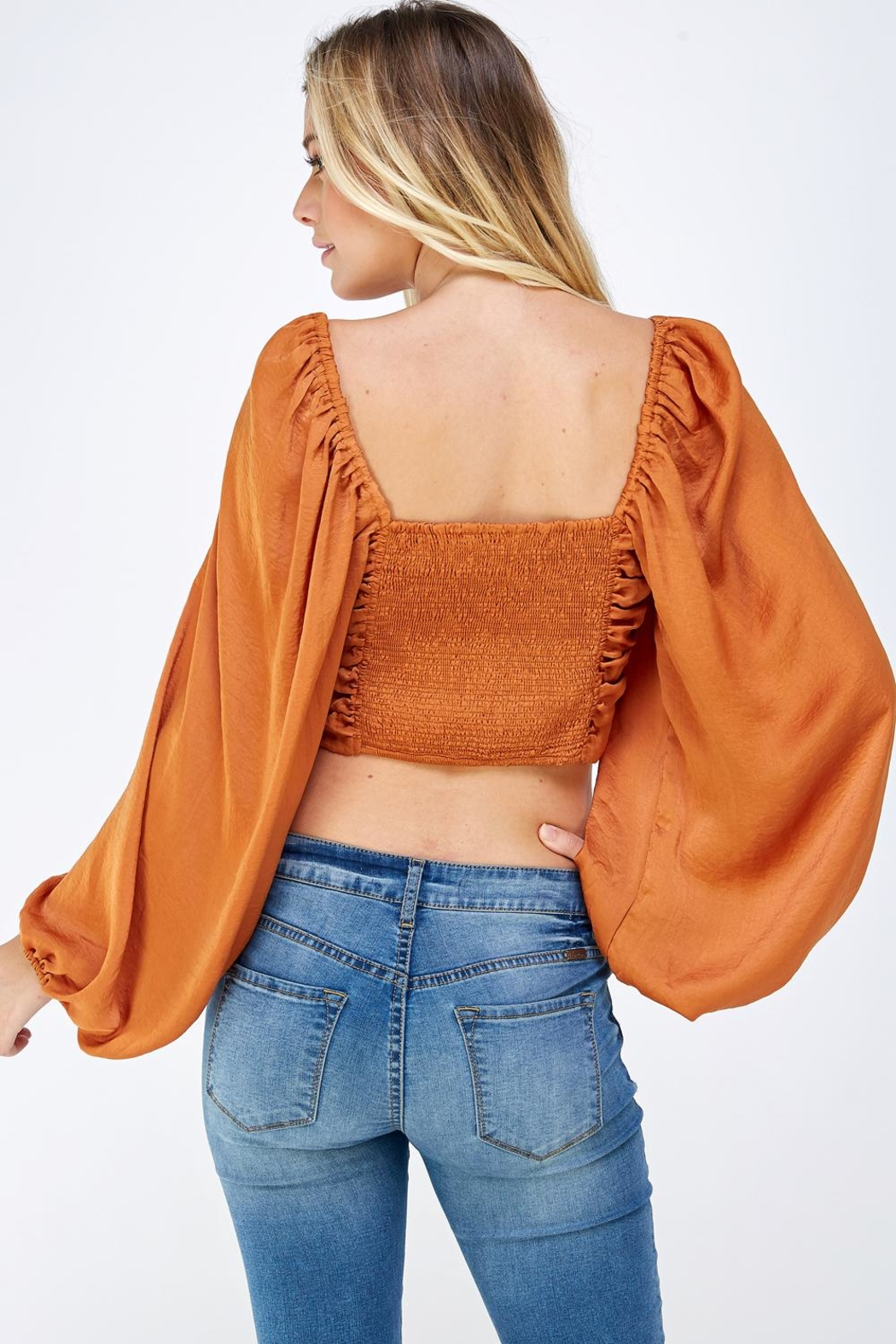 Mable Satin Drawstring Top - Back Cropped Image
