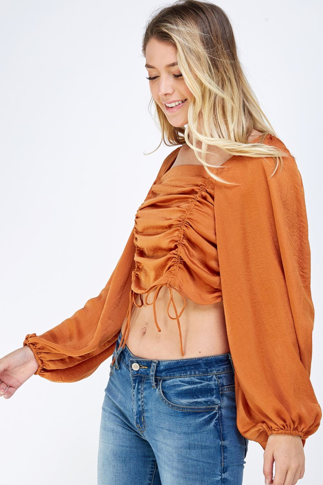 Mable Satin Drawstring Top - Front Full Image