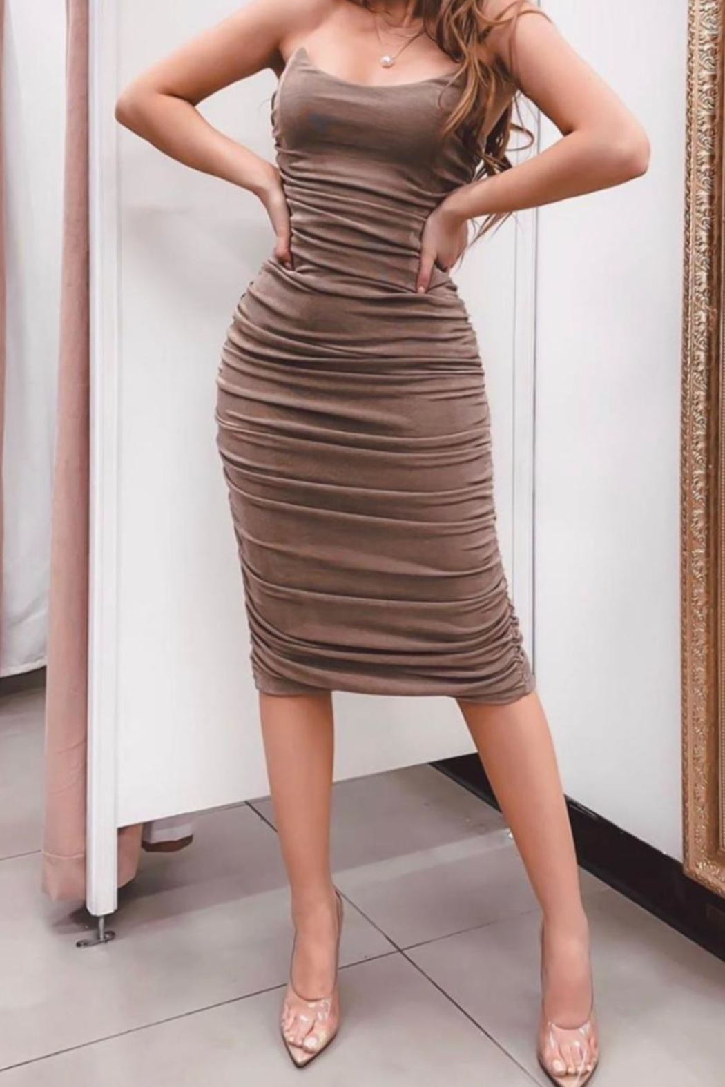 Mable Shirring Tube Dress - Front Cropped Image