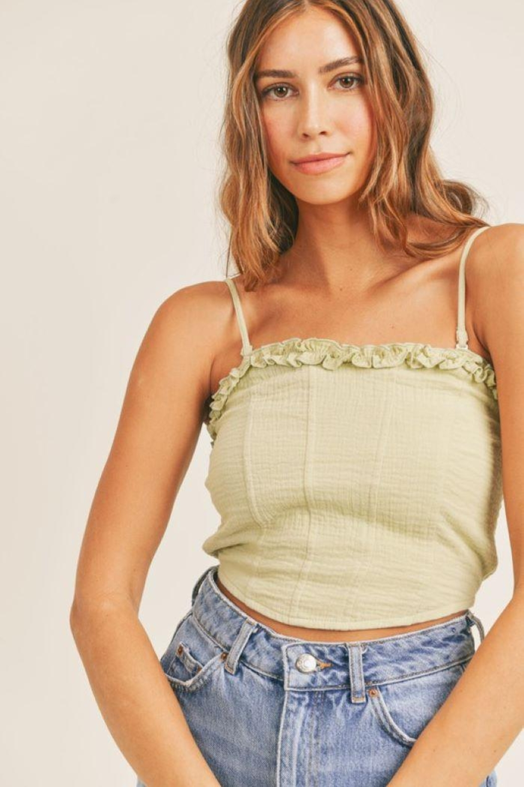 Mable Smocked Back Crop Top - Main Image