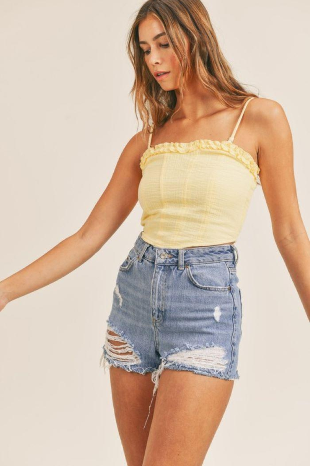 Mable Smocked Back Crop Top - Front Full Image