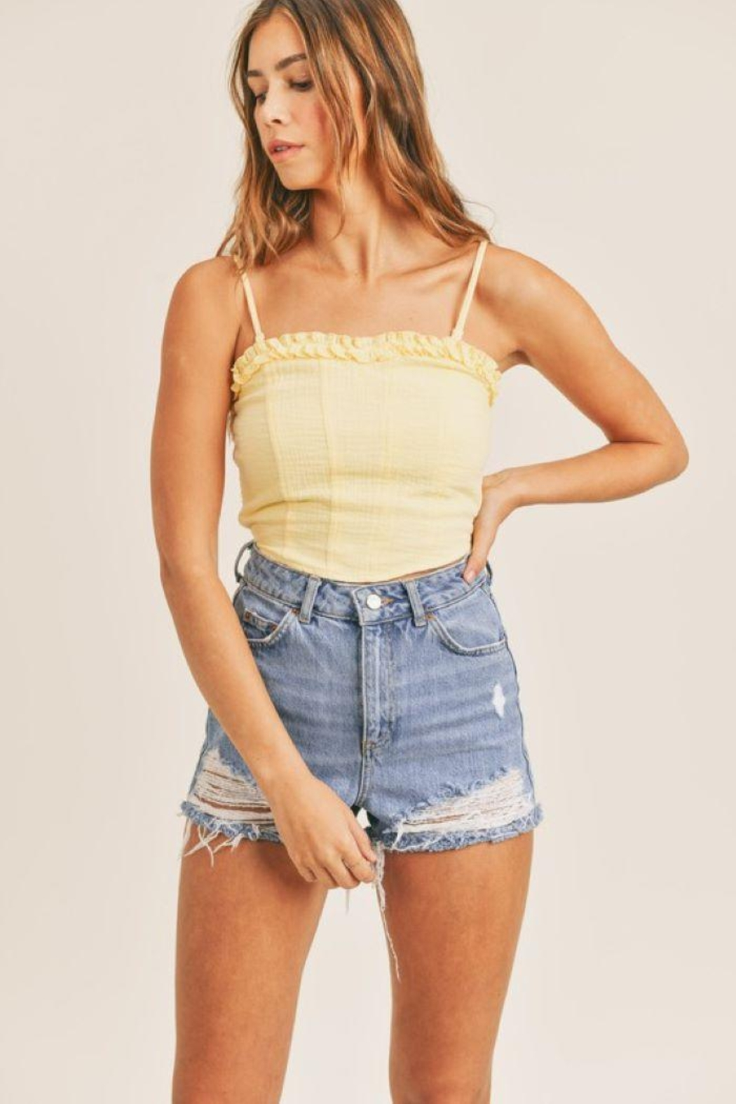 Mable Smocked Back Crop Top - Back Cropped Image