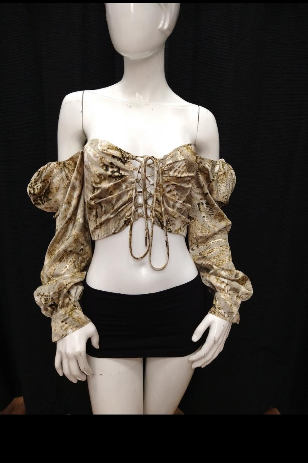 Mable Snake Print Crop-Top - Front Full Image