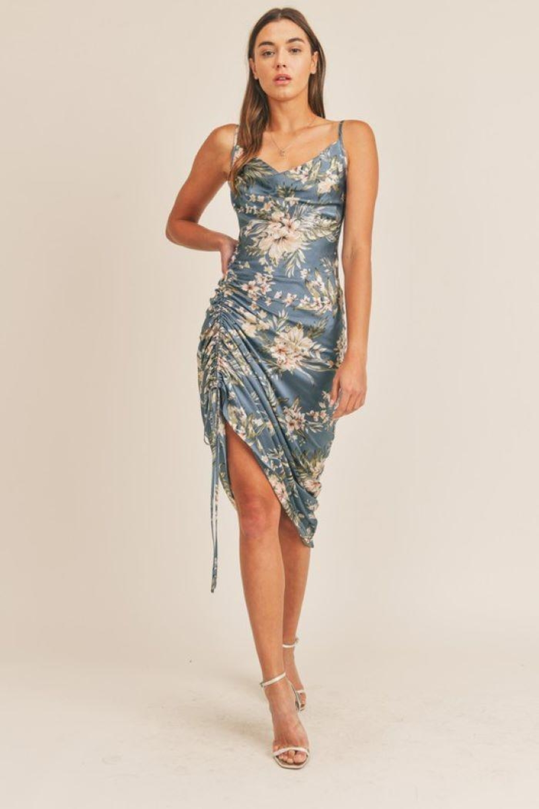 Mable Topical Print Drawstring Midi Dress - Front Cropped Image