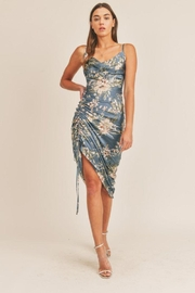 Mable Topical Print Drawstring Midi Dress - Front cropped
