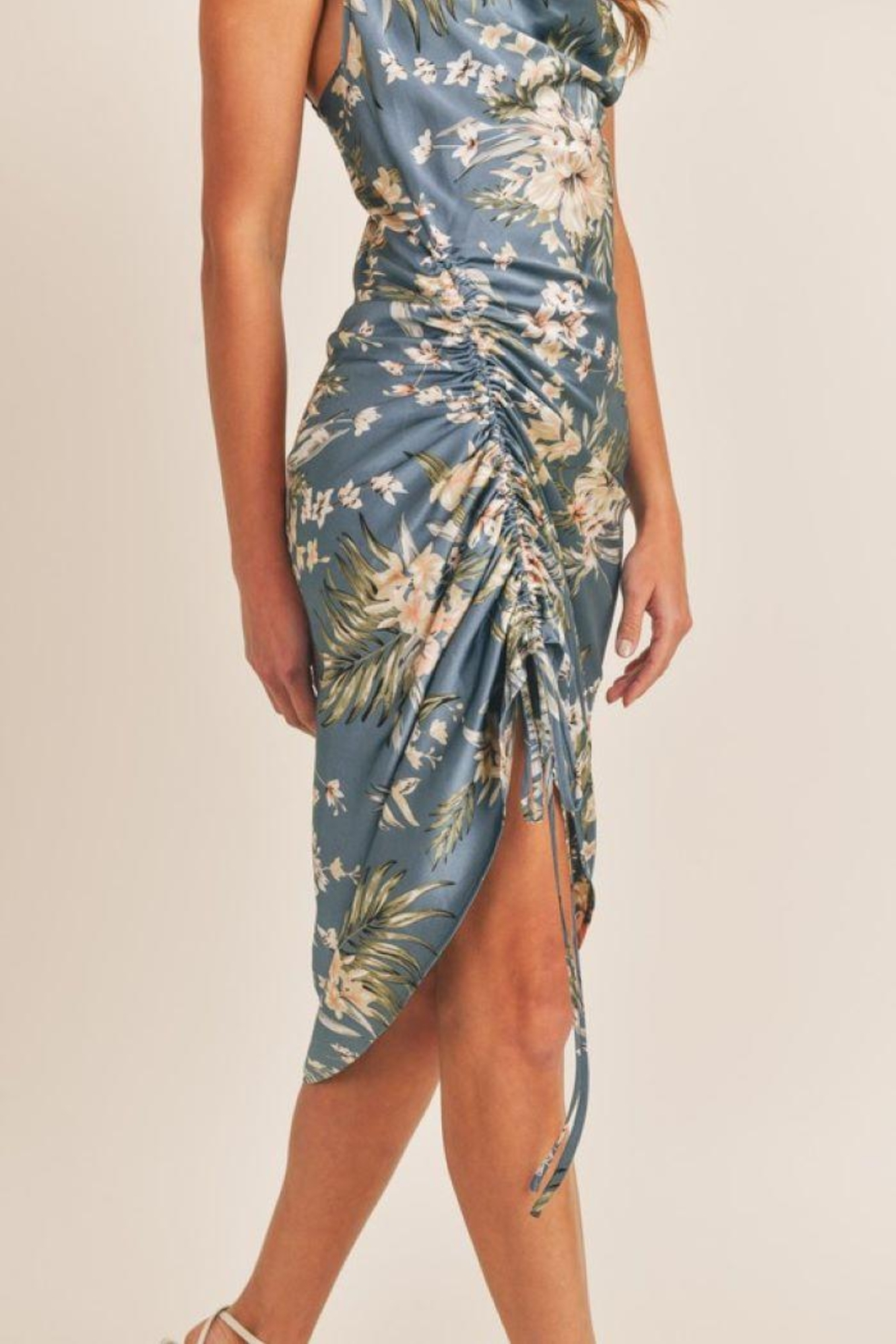 Mable Topical Print Drawstring Midi Dress - Side Cropped Image