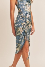 Mable Topical Print Drawstring Midi Dress - Side cropped