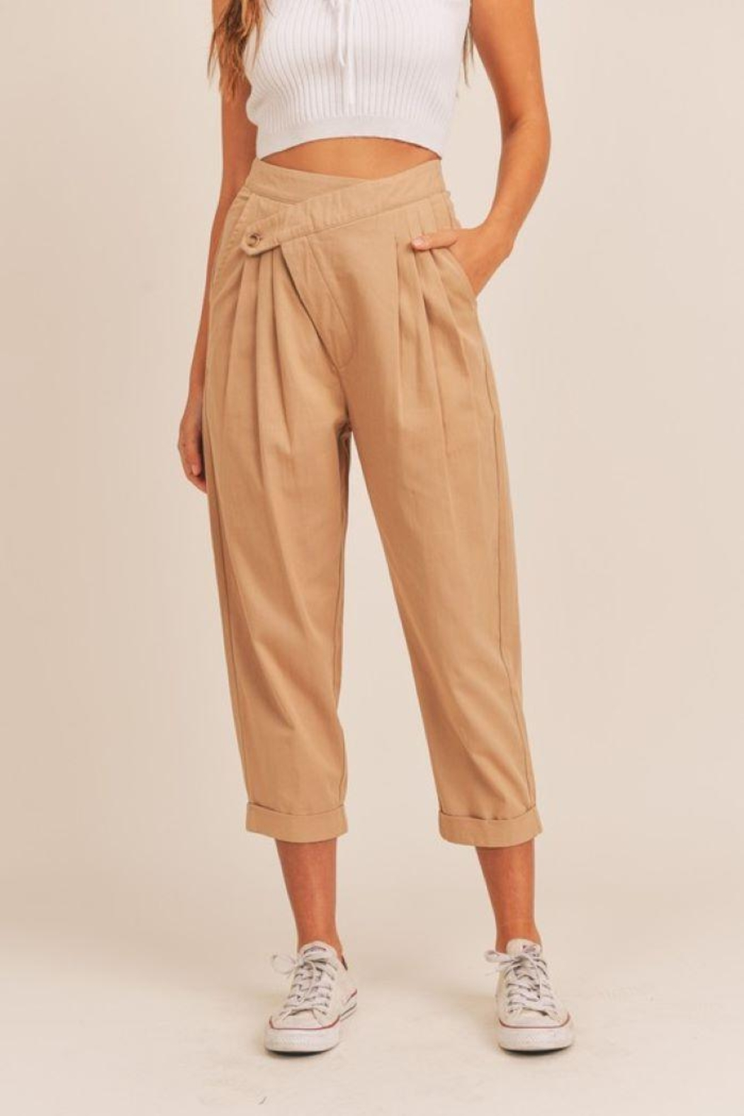 Mable Unbalance Button Cropped Pants - Main Image